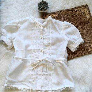 Vintage Girls White Button Up Blouse